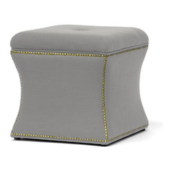 Baxton Studio - Baxton Studio Shrewsbury Beige Linen Modern Ottoman - A petite ottoman with concave sides, our Shrewsbury Ottoman stylishly furnishes a bedroom or living room with timeless sophistication. We start with a sturdy eucalyptus wood frame, soften it with polyurethane foam padding, and add beige linen upholstery.  Antiqued bronze metal nail head trim lines the perimeter and black legs with non-marking feet finish off this Chinese-made footstool.  Assembly is not needed and spot cleaning is appropriate when necessary.  A dark gray option of the Shrewsbury Ottoman is also offered (sold separately).