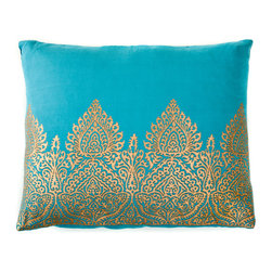 "Trendsage - Trendsage Mughal Teal Cotton Pillow - ""Trendsage is a collaboration between Goga Bouquet and Sebastian Lopez. Their product line consists of contemporary, modern and high end home décor. They were inspired by the organic and neutral colors of the earth. This Mughal teal pillow Is cotton with gold hand block printing. it comes with a 5% Down and 95% feather."""