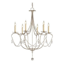 Currey & Company - Crystal Lights Silver Leaf Six-Light Small Chandelier - A classic design is executed with a silver finish. A lovely form is augmented by a simple crystal trim making it perfect for many interiors. This Small Crystal Light Chandelier is companion to a number of other designs in this style.  -Materials: Wrought Iron/Crystal  -Includes 16 ft. of Silver wire and 6 ft. of chain  -5.75 Canopy Diameter  -Socket Finish: White Currey & Company - 9890