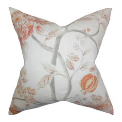 "The Pillow Collection - Ivria Floral Pillow Bloom - This accent pillow readily lends a touch of romantic flair to your home. Adorned with a floral pattern in shades of orange, gray and white, this 18"" pillow ensures long lasting quality. Made of 100% high-quality linen fabric, this throw pillow is perfect for your sofa, bed or accent chair."