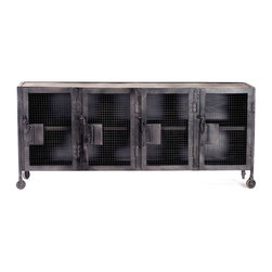 Bronx Industrial Tool Locker Console - The Bronx Tool Locker Console isthe perfect industrial style rolling storage cabinet for your plasma. Rolls on metal casters. Available in black with black or distressed white interior.