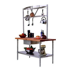 John Boos - Cucina Grandioso Kitchen Island Worktable w P - Choose Size: 48 in. x 24 in.A lower shelf constructed of food service grade stainless steel provides additional storage.  This all-in-one kitchen workcenter features a 1.75 inch thick maple top with food service grade stainless steel base and under shelf.  Worktable is available in five different sizes and has an oil finish.  Stainless steel pot rack has 15 hooks for generous storage options.  Underneath the worktable, you will find a shelf to hold your large appliances. * Hanging. Made from wood and stainless steel. Rectangular. 48 in. L x 24 in. W x 84 in. H. 48 in. L x 30 in. W x 84 in. H. 60 in. L x 24 in. W x 84 in. H. 60 in. L x 30 in. W x 84 in. H. 72 in. L x 30 in. W x 84 in. H. Overhead potrack with 15 hooks. Food service grade 300 series 18/8 stainless base. Hard maple 1.75 in. thick top with beeswax block. 36 in. table height. Stainless drawer with roller bearing drawer slides. Adjustable undershelf. Drawer: 20 in. W x 15 in. D