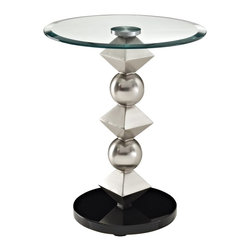 Powell - Powell Metal and Glass Table Round Top X-153-641 - The Metal Spheres and Diamonds Table is a unique, contemporary addition to any space. The sturdy round black bottom supports a spacious round glass tabletop. Large silver spheres alternating with metallic diamonds separate the two and bring an eyecatching, fun, modern expression to a simple design. Some assembly required.