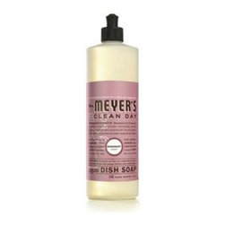 Mrs. Meyer's Liquid Dish Soap - Rosemary - 16 Oz - Mrs. Meyers Clean Day Liquid Dishwashing Soap in Rosemary is a fast and effective degreaser for hand washing dishes. The formula is rich, thick, and extra concentrated and made from Soap Bark Extract and other natural ingredients that can be found in the garden. Its' streak free finish will leave you quite pleased and fill your kitchen with a lovely aroma.