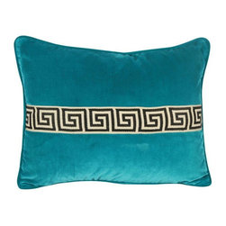 Pre-owned Turquoise Velvet Greek Key Accent Pillow - Turquoise to die for and neoclassical glamour that nobody can deny! This custom turquoise velvet throw pillow features black & white Greek key tape on the front with a solid back, self-welt, hidden zipper, and a down insert. The pillow size is 16x20.