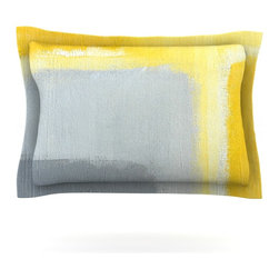 "Kess InHouse - CarolLynn Tice ""Inspired"" Grey Yellow Pillow Sham (Cotton, 30"" x 20"") - Pairing your already chic duvet cover with playful pillow shams is the perfect way to tie your bedroom together. There are endless possibilities to feed your artistic palette with these imaginative pillow shams. It will looks so elegant you won't want ruin the masterpiece you have created when you go to bed. Not only are these pillow shams nice to look at they are also made from a high quality cotton blend. They are so soft that they will elevate your sleep up to level that is beyond Cloud 9. We always print our goods with the highest quality printing process in order to maintain the integrity of the art that you are adeptly displaying. This means that you won't have to worry about your art fading or your sham loosing it's freshness."