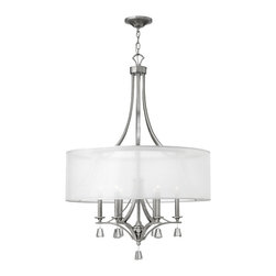 Fredrick Ramond - Fredrick Ramond Mime 30 in. 6-Light Chandelier Foyer - This elegant collection in our Brushed Nickel finish features a sheer translucent double hardback shade and tapered square crystal accents.
