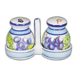 Ceramic - Bellarte Uva Salt & Pepper Set with Caddy - Bellarte Uva Salt & Pepper Set with Caddy