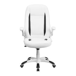 Flash Furniture - Flash Furniture Office Chairs Leather Executive Swivels X-GG-HW-60H6710XC-HC - Set yourself apart by getting away from the normal office chair with this soft White Leather Executive Office Chair by Flash Furniture. This chair has an attractive design with black insets, flip-up arms and nylon base with black caps that prevent feet from slipping. [CH-CX0176H06-WH-GG]