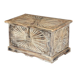 Sierra Living Concepts - Winter Sunburst Hand Carved Mango Wood Mini Coffee Table Chest - This joyful hand carved coffee table chest will make you smile winter, spring, summer or fall. The antique multi-use storage box is constructed with mango wood, a tropical hardwood grown as a sustainable crop.