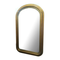 Pre-owned Gilded Arched Mirror - Add a glamorous touch to your interior with this rounded wooden mirror. The wood frame is encased in a gold layer giving the piece a stylish presence, great for any space!