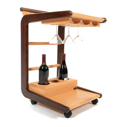 Inova Team -Modern Wood Mobile Bar Cart - Entertain guests at dinner parties with this incredibly stylish bar cart. The Delilah Bar Cart is constructed of smooth walnut and oak, and is designed to store open wine bottles, martini glasses, and more! It's just the thing for 1920s-themed parties.