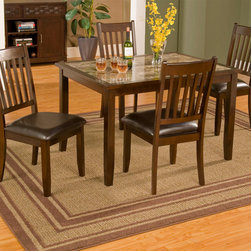 """Alpine Furniture - Capitola Faux Marble 5 Piece Dinette Set - Capitola Faux Marble 5 Piece Dinette Set; This set includes Table and 4 pcs Chair; Espresso Finish; Product Material: Rubberwood Solids & Faux Marble Top; Seat Height: 19""""; Country of Origin: Vietnam; Dimensions: Table: 48""""L x 36""""W x 30""""H; Chair: 19.5""""x20""""x39""""H"""