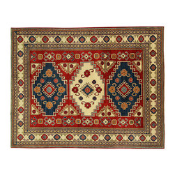 Manhattan Rugs - New Traditional Oriental Hand Knotted Kazak 8' X 10' Deep Red Wool Rug H3343 - The areas known as kazakhstan, chechnya and shirvan, respectively, are situated north of iran and afghanistan and to the east of the caspian sea and are all new soviet republics. these rugs are woven by settled armenians as well as nomadic kurds, georgians, azerbaijanis and lurs.  many of the people of turkoman origin fled to pakistan when the russians invaded afghanistan and most of the rugs are woven close to peshawar on the afghan-pakistan border. there are many design influences and consequently a large variety of motifs of various medallions, diamonds, latch-hooked zig-zags and other geometric shapes. however, it is the wonderful colors used with rich reds, blues, yellows and greens which make them stand out from other rugs. the ability of the caucasian weaver to use dramatic colors and patterns is unequalled in the rug weaving world.  these rugs are very hard-wearing, as well as being very collectible.