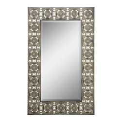 "Cooper Classics - Ashville Distressed Bronze Rectangular Mirror - Distressed Bronze Finish; Beveled Mirror, Frame Dimensions: 27.5""W X 44.5""H, Mirror Dimensions: 16.5""W X 33""H, Finish: Distressed Bronze, Material: Metal, Beveled: Yes , Shape: Rectangular, Weight: 20 lbs, Included: Brackets, Ready to Hang Vertically or Horizontally"