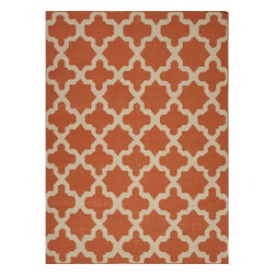 Jaipur Rugs - Jaipur Rugs Flat-Weave Moroccan Pattern Wool Orange/Ivory Area Rug, 9 x 12ft - An array of simple flat weave designs in 100% wool - from simple modern geometrics to stripes and Ikats. Colors look modern and fresh and very contemporary.