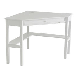 Holly & Martin - Alexander Corner Computer Desk in White (Whit - Finish: WhiteSlide out keyboard tray. Cord management. Made from birch hardwood and MDF. Assembly required. 48 in. W x 32.25 in. D x 30 in. H  (55.24 lbs.)No house is complete in the modern era without a convenient home office. Why settle for a solution that clutters your home when this contemporary corner desk can save you space and add style? On the top, a circular cord keeper is recessed into the surface near the corner to guide and organize all of your computer cords. The front drawer folds down to reveal a retractable tray that allows you to store your keyboard and mouse dust free and out of sight. Approximately 14 in. above the floor, an 8 in. deep shelf lines the back edge of the desk along the wall for easily accessible storage of books, disks or other computer gadgets. Both a stylish and useful piece of furniture, this corner computer desk is a must have for every home.