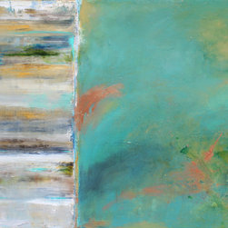 artist - Pacifica - One of a kind, original art mixed media on canvas this colorful abstract captures the colors of the Pacific Ocean. Bright turquoise inter-mixed with copper, gold and silver incorporate beautifully with light whites and yellows.