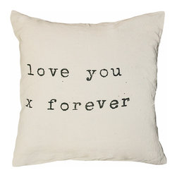 """Kathy Kuo Home - Love You X Forever"""" Vintage Typewriter Large Linen Down Throw Pillow - How do I love thee? Let me count the ways ... then multiply that by forever. Make a statement in bold type with this graphic pillow printed on high quality natural linen and filled with a down insert. At 24 inches square, it's a grand way to declare your love — and your love of home."""