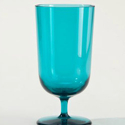 Pagoda Blue Acrylic All-Purpose Footed Tumblers - Big enough for a margarita, but plastic just in case, and in a perfect hue of ocean blue.