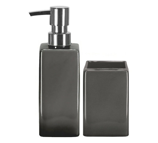 Luxury Porcelain Bathroom Accessories Set - 2 Pieces, Grey - Liquid soap dispenser and tumbler 2 piece set in beautiful thick porcelain. Colorful porcelain countertop accessories in white, black, red, blue and grey.  The tumbler also can be used as a toothbrush holder. Made in Germany. Tumbler (W) 2.25in x (H) 4.0in ; Dispenser (W) 2.25in x (H) 7.5in