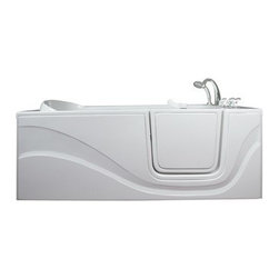 Ellas Bubbles - Ella Lay Down Hydro Walk in Bath (306003RW) Right Side Door and Drain - The Ella Lay Down 60 in. Walk-in Bathtub is specifically designed for people who want to lay prone while bathing but cannot lift their legs to get in and out of a traditional bathtub. Its standard 30 in. by 60 in. length allows it to fit where a standard bathtub once was. Indulgence and enjoy bathing while you soak in our lay down walk in bathtub. This walk-in bath is constructed of the highest grade fiberglass composite with a gel coat high gloss finish for beauty and durability. It is supported with a durable stainless steel frame. Like all Ella Walk in Baths, the lay down walk in bathtub features our durable high gloss finish, anti-slip floor, low step for easy entrance, an extension panel to fit up to a 60 in. opening, a hand shower with pull out hose and a high quality Huntington Brass Roman Faucet set. You can chose from left or right hand side door and drain, the soaking model or the massage model which is equipped with air, hydro or dual therapy massage options.