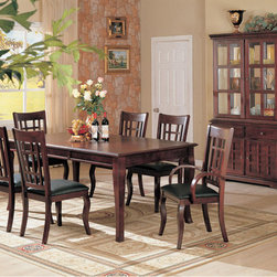 7 PC Cherry Wood Dining Room Set Table Chairs Leather Seat Coaster - Create a fantastic setting for dining in your home with the elegant Newhouse collection, in a warm cherry finish over birch veneers that will blend beautifully with your decor. The rectangular dining table with one 18-inch leaf creates a sophisticated place for up to six to dine. The arm and side chairs feature dark durable leather-like vinyl for style and comfort for sitting at the table. A buffet and hutch create a storage and display space to coordinate with your dining room furniture.