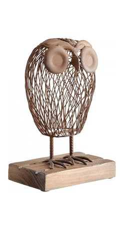"Joshua Marshal - Rustic 13"" Wisely Owl Sculpture - Rustic 13"" Wisely Owl Sculpture"