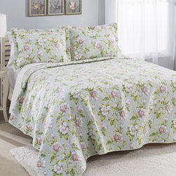 Laura Ashley - Laura Ashley Carlisle Mist Reversible Cotton 3-piece Quilt Set - The Laura Ashley cotton quilt set is great to layer into your bedding as a coverlet or use alone in warmer weather. This reversible quilt coordinates with Laura Ashley sheet sets. Machine washable for easy care and repeated use.