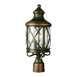 """Trans Globe Lighting - Trans Globe Lighting 5125 AC New England Coast 26"""" high Post Top Light - Coastal New England horse and carriage post mount lantern. Cross bar frame with rounded seeded glass. Wrought iron post cap and temple top cap."""