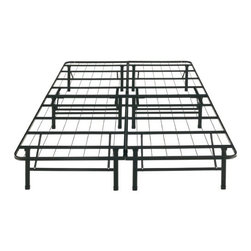 """Eco-Lux - Platform Frame - Features: -Black anodized coated finish. -Fabric-free 100% Steel construction is free of dust-mites and allergens. -Frame height provides more under bed storage than a standard 6"""" to 8"""" frame. -Compact size makes frame easy to transport through even the narrowest of spaces such as stairwells or elevators. -Sag free and squeak free mattress support. -Heavy duty construction supports up to 2,500 lbs. -Brackets to attach headboard and footboard. -If attaching just a headboard, you need 2 brackets. -If attaching a headboard and footboard, you need 4 brackets. -Does not include headboard or mattress."""
