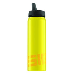 Sigg Water Bottle - Nat Yellow  - .75 Liters - The perfect bottle for SIGG fans young and old. A CLEVER APPROACH IS WHAT GOES INTO OUR BOTTLES. LIKE OUR NEW ACTIVE TECHNOLOGY. State-of-the-art engineering with a pressure-relief valve and pre-ventilation system. The new top is also leak proof   even if you turn the bottle on its head   which is great for all athletes, drivers and kids. With this top, having to unscrew your bottle is a thing of the past, so you can simply reach for your beverage whenever you get thirsty   without taking your eyes off the road and without the risk of spilling. Stay perfectly hydrated with the new SIGG Active Top collection. The Nat yellow aluminum bottle has a highly resistant BPA- and phthalate-free liner, making it almost unbreakable!