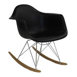 Sunset Rocking Chair, Black - Not your grandma's rocking chair. This mid-century retro modern chair is sure to rock your world. Whether your rocking your baby to sleep or rockin' out to your favorite records, this chair was made for the modern home.