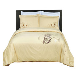 Bed Linens - Katella Embroidered Multi-Piece Duvet Set King-California King - You are invited to experience the comfort, luxury and softness of our luxurious Embroidered duvet covers. Silky Soft made from 100% Egyptian cotton with 300 Thread count woven with superior single ply yarn. Quality linens like this one are available only at selected Five Stars Hotels.