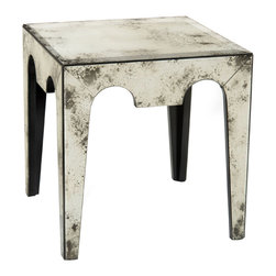 John Richard - John Richard Mirabella Side Table EUR-03-0481 - These side tables match the cocktail table but have less contouring to the apron rails. The whole table is covered in foxed mirrors.