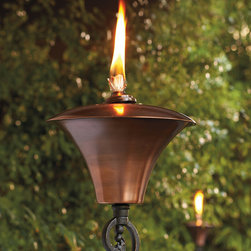 """Frontgate - Legato Outdoor Torch - Frontgate exclusive. Acanthus design, constructed of aluminum, features beautiful highlights. Torch reservoir, snuffer and chain are all 100% brass construction. Reservoir holds 30 oz. of paraffin oil (not included). Chain-attached snuffer. With an elegant acanthus design emerging from delicate scrolls, our Legato Torch's artistry is as impressive as its flame. A beautiful aged-copper finish adorns the brass oil reservoir; fill with 30 oz. paraffin oil (sold separately). Place the steel pole in the ground, or pair with the optional freestanding base. . . . . . Includes a 6"""" fiberglass wick; replacement wicks sold separately."""