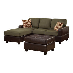 Poundex - Poundex F7670 Sage Colored Fabric & Brown Leatherette Sectional Sofa - The Poundex F7670 sectional sofa has a simple modern look that works for any living room decor. This sectional features a two material design that adds to the overall look. The base is wrapped in a beautiful brown leatherette material. The cushions are upholstered in a sage colored microfiber fabric. High density foam is placed within the cushions for added comfort. Only hardwood products were used when crafting the sectional making it very durable. The two patterned accent pillows and matching ottoman shown come included. Attached to the bottom are brown finished wooden legs.