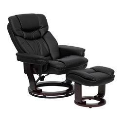 Flash Furniture - Contemporary Black Leather Recliner and Ottoman with Swiveling Mahogany Wood Bas - There's no better way to enjoy a movie, a book or just some down time than in a recliner. This set features thickly padded arms and tastefully exposed wood frames. This uniquely designed recliner features a ball-bearing swiveling base that makes swiveling effortless. This set is not only perfect in the home, but makes for a great addition in the office. The durable leather upholstery allows for easy cleaning and regular care.