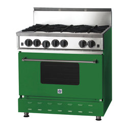 36-inch BlueStar Range, Emerald Green (RAL 6001) - Here is a more permanent way to add green to your home. This stove reminds me of the '60s or '70s, yet it is nicely modernized for today's world.