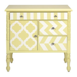 "IMAX - Hardy Yellow Graphic Print Chest - This quaint chest of drawers will give your room a foundation of warmth and whimsy. The soft yellow color and bold white graphic patterns work together to bring your room to life. Item Dimensions: (31.5""h x 15""w x 32"")"