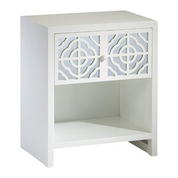 "Inviting Home - White Mirrored End Table - Mirrored end table with lacquered white finish; 23-3/4""W x 16""D x 27-3/4""H; Rectangular end table with lacquered white finish. This end table has one drawer with mirrored panel and cut out design."