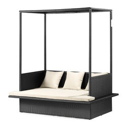 Outdoor Canopy Bed Outdoor Canopy Bed - Can you image more luxury than this? This canopy bed is made specifically for the outdoors. It shades you from the heat and looks like a royal throne. Mix and match colorful pillows with it.