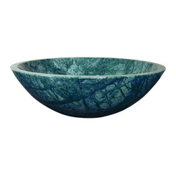 "Yosemite Home Decor - Round Green Marble Stone Vessel Sink - The Grannus Classic Round Vessel Sink is made of polished green marble stone. This green marble vessel sink is essentially hand carved; however, the help of some modern tools like small diamond saws and handheld polishing tools have been employed.  The dimensions of the Grannus marble sink are 16.5 x 16.5 x 5.5 inches. Because it is hand carved, you can expect small variations in the size and shape of the Grannus sink. Generally, a size allowance of a quarter of an inch to an inch is given.  Material: Round Green Marble Stone; Dimensions: 16.5"" X 16.5"" X 5.5""; Thickness: Varies ""_"" """""" 1 ""_""; Drain Hole: 1.5""; Weight: 24 lbs; Installation: Top Mount; Not Included: Pop Up Drain & Faucet; Color: Natural stone varies in color. When you order this sink, we will open 3 boxes, and send you pictures of each so you can choose the one best suited for you."