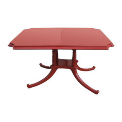 Used 1960s Egyptian Motif Dining Table - Don't you love this shade of red!? This Egyptian motif 1960s dining table has the perfect shape and size for an apartment or house. Its bright red will be sure to brighten up any dining room.