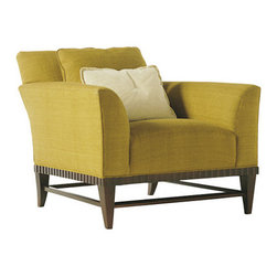 Barbara Barry Upholstered Lounge Chair - The classic lines of this lounge are accentuated by the details of the base - the color is stunning as well. This chair just beckons guests to flop down in comfort and style.