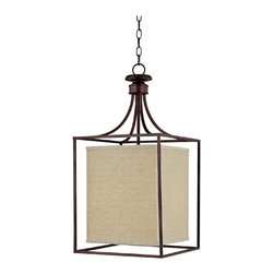 """Lamps Plus - Contemporary Midtown Collection Burnished Bronze Square Foyer Chandelier - Geometric angular shapes bring a contemporary element into your entryway. A square of burnished bronze surrounds a cube shaped shade lending its sleek design to your home decor. The frosted glass diffuser helps to soften and perfect the lighting. Burnished bronze finish. Frosted glass diffuser. Takes two 60 watt bulbs (not included). Includes 10ft chain and 15ft wire. Canopy is 5"""" wide. 14"""" wide. 28"""" high.  Burnished bronze finish.   Frosted glass diffuser.   Takes two 60 watt bulbs (not included).   Includes 10ft chain and 15ft wire.   Canopy is 5"""" wide.   14"""" wide.   28"""" high."""