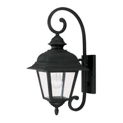 Joshua Marshal - One Light Clear Beveled Glass Textured Black Wall Lantern - One Light Clear Beveled Glass Textured Black Wall Lantern