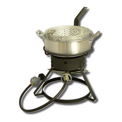 King Kooker - King Kooker Outdoor Cooker with Aluminum Fry Pan - The perfect summer barbecue accessory, this King Kooker outdoor cooker features aluminum construction and 54,000 BTU cast burner. This portable propane gas cooker is equipped with a 7-quart fry pan and basket.
