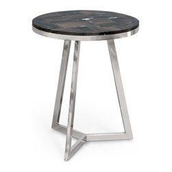 Kathy Kuo Home - Raven Industrial Loft Petrified Wood Black Round Side Table - Mixing a round mosaic of black petrified wood with a trio of stainless steel legs creates an end table with endless architectural appeal. Modern, Industrial and Rustic styles come together in this petite piece that enhances any environment.