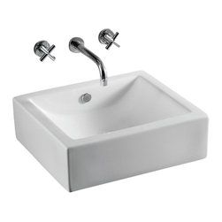 Caracalla - Rectangular White Ceramic Vessel Bathroom Sink - Square bathroom sink with curved basin. Vessel sink made of high-quality ceramic by Caracalla in Italy. Does not come with faucet holes but does come with overflow. Vessel bathroom sink. Square geometrics. Without overflow. No hole options. Made by Caracalla. Standard drain size of 1.25 inches.
